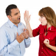 A portrait of a young angry woman slapping her boyfriend or husband with her hand — Stock Photo