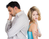 Closeup portrait of two people, couple woman and man, back to back, very sad, disappointed with each other — Stock Photo