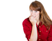 Closeup portrait of a nervous woman biting her nails craving for something or anxious — Stock Photo