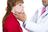 A close-up cropped image of a doctor, endocrinologist performing physical exam, palpation of the thyroid gland — Stock Photo