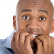 Handsome bald man scared and afraid — Stock Photo