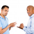 Two guys playing paper, rock, scissors. — 图库照片