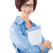 Beautiful smiling mature businesswoman with clipboard — Stock Photo