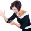 Screaming angry woman on the mobile phone — Stock Photo