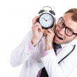 Stock Photo: Close-up portrait of overwhelmed busy unhappy male doctor