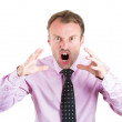 Screaming businessman going through a conflict in his life — Стоковая фотография