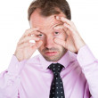 A close-up portrait of a very tired business man — Stock Photo