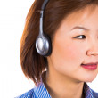 Customer service operator woman with headset — Stockfoto