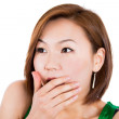 Closeup of very surprised asian woman. — Stock Photo