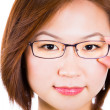 Closeup of woman holding eye glasses frame smiling happy. — Stock Photo #30339157