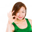 Young woman showing OK hand sign smiling happy. — Stock Photo #30339251