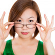 Cute confident businesswoman portrait with glasses — Stok fotoğraf