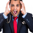 A close-up portrait of a stressed yelling doctor-businessman — 图库照片