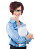 Beautiful smiling mature businesswoman with clipboard — Stok fotoğraf