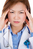 A portrait of a stressed medical student — Stock Photo