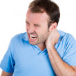 Man with really bad neck pain — Photo