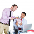 Boss want to break a piggy bank with a hammer — Stock Photo #30678413