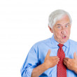 Senior man  pointing at himself — Stock Photo