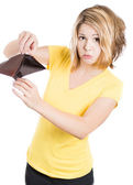 Girl holding an empty wallet — Stock Photo