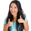 Adorable woman with thumbs up sign — Stock Photo
