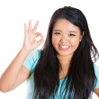 Woman showing OK sign — Stock Photo