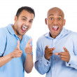 Excited male guys pointing fingers and laughing at you — Stock Photo #31268245