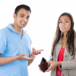 Stock Photo: Mand womcouple showing empty wallet