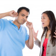 Young woman trying to explain something to a man — Stock Photo