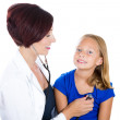 Pediatrician exam of child with stethoscope — Stockfoto