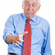 Elderly man pointing and laughing at you — Stok fotoğraf