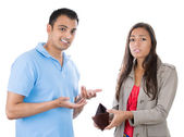 Man and woman couple showing empty wallet — Stock Photo