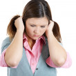 Woman stressed is going crazy pulling her hair in frustration — Stock Photo #32071233