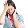 Woman stressed is going crazy pulling her hair in frustration — Stock Photo #32071235