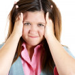 Woman stressed is going crazy pulling her hair in frustration — Stock Photo #32071297