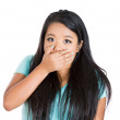 Attractive woman covering his mouth — Stock Photo