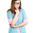 Erdy woman with glasses thinking with chin on hand — Stock Photo