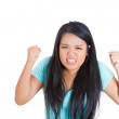Woman raising fists in air — Stock Photo