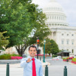 Businessman isolated on background Washington DC Capitol — Stock Photo