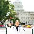 Doctor giving OK sign on streets of washington dc — Stock Photo