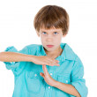 Kid making a time out sign with his hands — Stock Photo