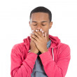 Man with closed eyes, hands covering mouth — Stock Photo