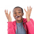Surprised man with hands up and mouth open — Stock Photo