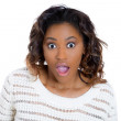Closeup portrait of a happy cute young beautiful woman looking shocked and surprised in disbelief, mouth and eyes wide open — Stock Photo #36313223