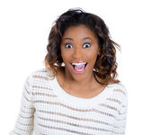 Closeup portrait of a happy cute young beautiful woman looking shocked and surprised in disbelief, mouth and eyes wide open — Stock Photo