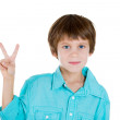 Closeup portrait of kid showing victory or peace sign — Stock Photo