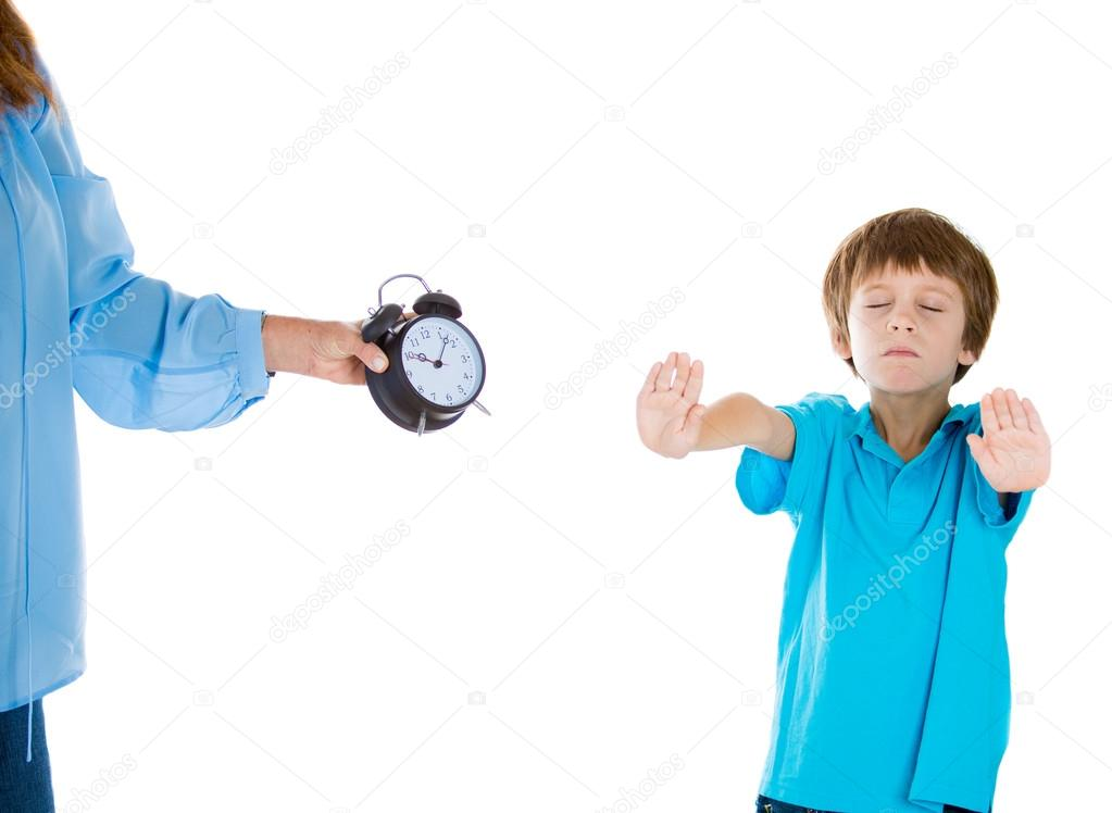 closeup portrait of mom showing kid clock that it is time to