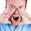 Closeup portrait of angry pissed off irritated guy wearing blue shirt, hands to mouth, screaming, shouting, yelling angry — Stock Photo