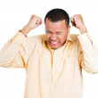 Closeup portrait of displeased pissed off, angry grumpy man eyes closed, fists in air about to bash something — Stockfoto