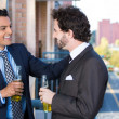 Closeup portrait of two young handsome smiling, laughing businessmen, friends celebrating having beers and conversation on outside sunny balcony — Stockfoto