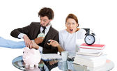 Closeup portrait of anxious shocked stressed worried young couple, man, woman, looking scared trying to protect savings, cash from being stolen, by fund manager — Stock Photo